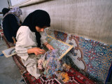 Women Weaving Carpets in Factory, Esfahan, Iran