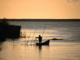 Fisherman Checking Nets at Dawn on Danube Delta, Tulcea, Romania,