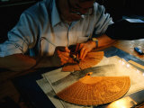 Sandalwood Fan Making, Suzhou, Jiangsu, China
