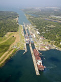 Panama, Panama Canal, Container Ships in Gatun Locks