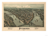Pittsburgh, Pennsylvania - Panoramic Map