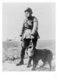 WWI Sergeant and Dog Wearing Gas Masks Photograph