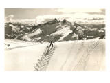 Skier Doing Herring-Bone Uphill Art Print