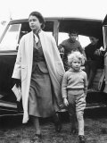 Princess Anne at Four Years Old Arriving with Queen Elizabeth at a Horse Show May 1955