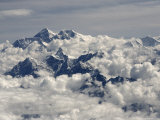 Monsoon Clouds Shroud Mount Everest and Lhotse Beyond