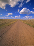 Cumulus Clouds Above a Dirt Road on a Wyoming Prairie Photographic Print
