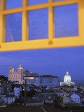 View of Lisbon Through a Window at Twilight