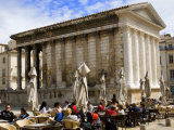 Outdoor Cafe in Front of the Roman Maison Carree in Nimes