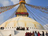 People Sitting on Steps of Bodhnath Buddhist Stupa, Losar Tibetan and Sherpa New Year Festival