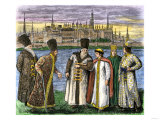 A Group of Russian Nobles Called Boyars, the Kremlin in the Background, 1600s