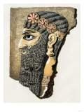 Assyrian Carved and Painted Stone Head
