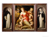 Portable Altar with the Madonna and Child with Saints Dominic and Catherine of Siena Giclee Print
