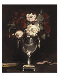 Red and White Roses in a Silver Urn, c.1897