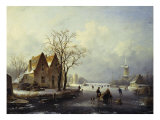 Skaters in a Frozen Winter Landscape