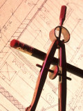 Blueprint Pencil Compass Still Life Conceptual