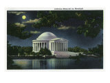 Washington DC, Exterior View of the Jefferson Memorial at Night