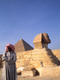 Close-up of the Sphinx and Pyramids of Giza, Egypt