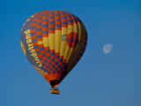 Moon Over the West Bank of the Nile and Hot Air Balloon with Tourists, Luxor, Egypt