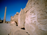 Hieroglyphic Covered Ruins with Obelisk in Distance, Karnak, Luxor, Egypt
