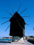 Waterfront Port with Windmills, UNESCO World Heritage Site, Nessebur, Bulgaria