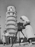 New England Couple Being Photographed by an Italian Woman in Front of the Leaning Tower of Pisa