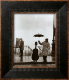 Musician in The Rain Framed Art Print