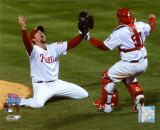 Brad Lidge and Carlos Ruiz celebrate Final Out of the 2008 World Series