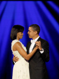 President Barack Obama and First Lady Dance Together at Neighborhood Inaugural Ball in Washington Photographic Print
