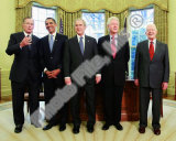 G.W. Bush w/President-elect Barack Obama & Presidents Clinton, Carter, & Bush Sr. in Oval Office.