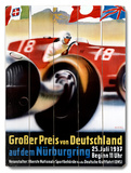 1937 Nurburgring Grand Prix Poster Wood Sign