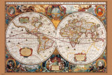 17th Century Antique Style World Map Poster
