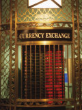 Foriegn Currency Exchange Window Showing Currency Exchange Rates, New York City, America