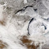 Cloud Streets over Lake Superior and Lake Michigan