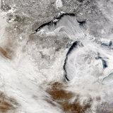 Cloud Streets over Lake Superior and Lake Michigan