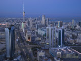 Aerial over Hilalli Street Towards Liberation Tower, Kuwait City, Kuwait