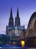 Evening, Cologne Cathedral and Hohenzollern Bridge, Cologne, Rhineland-Westphalia, Germany