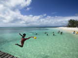 New Caledonia, Amedee Islet, Polynesian Kids Playing on Amedee Islet Beach