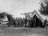 US Pres. Abraham Lincoln Standing on Campsite with Group of Federal Officers on Battlefield