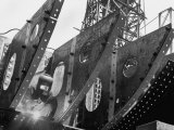 Welder Securing Steel Structure While Working on Hull of a Ship, Bethlehem Shipbuilding Drydock