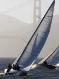 Sailboats Race on San Francisco Bay with the Golden Gate Bridge, San Francisco Bay, California