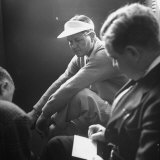 Golfer Byron Nelson Talking to Sportswriters in the Locker Room Premium Photographic Print