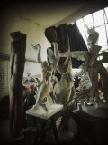 Russian Sculptor Ossip Zadkine Sitting in His Paris Studio Among Towering Sculptures