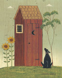 Outhouse with Dog Art Print