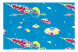 Rockets and Flying Saucers Premium Poster