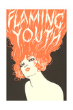 Flaming Youth, Woman with Flaming Hair Premium Poster
