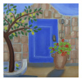 Blue Door with Lemon Tree