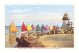 Boats with Colored Sails, Nantucket, Massachusetts Premium Poster