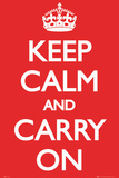 Keep Calm and Carry On (Motivational, Red)