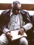 Ray Charles Reading Braille Premium Poster