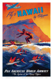 Fly To Hawaii by Clipper, Pan American World Airways c.1940s Art Print
